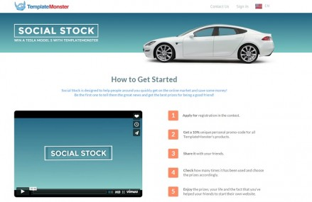 Tesla Model S is 1 Step Away with TemplateMonster's Social Stock